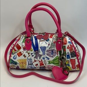 Sydney Love pink coated canvas paper doll handbag